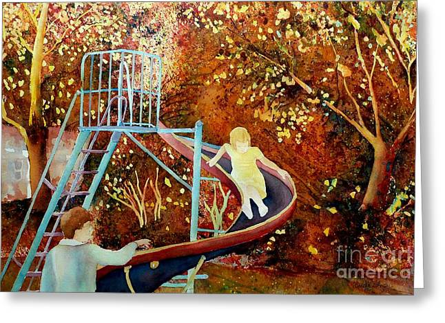 Park Scene Paintings Greeting Cards - Going Down The Slide Montreal Paintings Park Scenes Carole Spandau Greeting Card by Carole Spandau