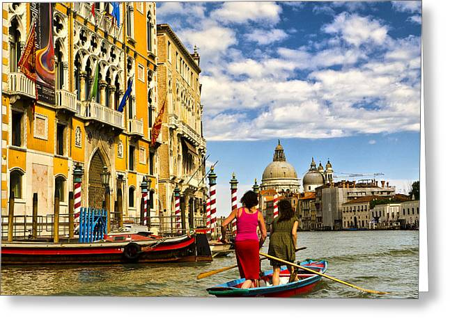 The Piazza Greeting Cards - Going Downtown - Venice Greeting Card by Jon Berghoff