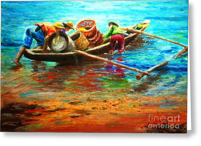 Fishermen Pastels Greeting Cards - Going Fishing Greeting Card by Joemarie  Chua
