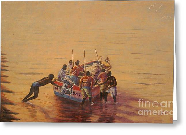 Goodbye Paintings Greeting Cards - Going fishing Greeting Card by Nisty Wizy