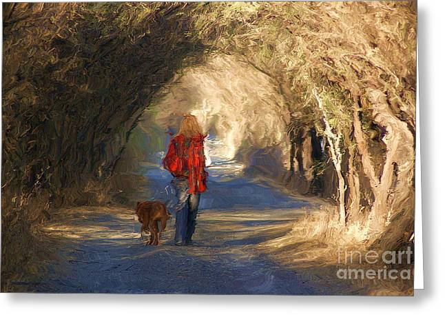 Dogs Digital Greeting Cards - Going For A Walk Greeting Card by John  Kolenberg