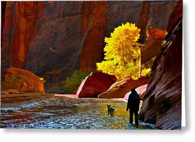 Historical Pictures Greeting Cards - Going Home Again Canyon De Chelly National Park Greeting Card by  Bob and Nadine Johnston