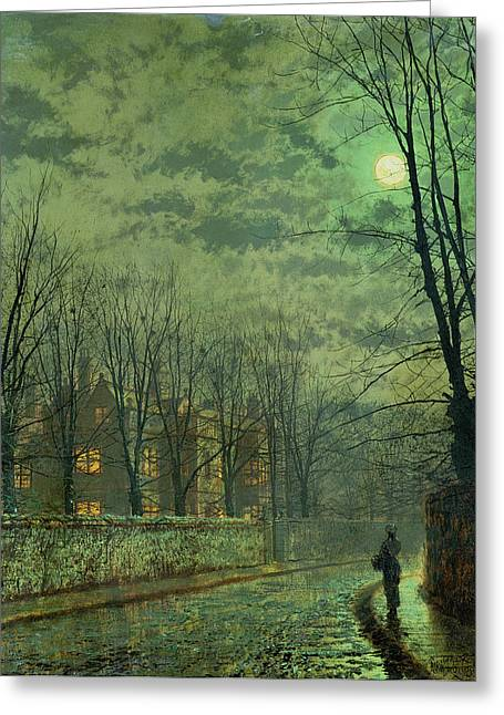 Eerie Paintings Greeting Cards - Going Home By Moonlight Greeting Card by John Atkinson Grimshaw