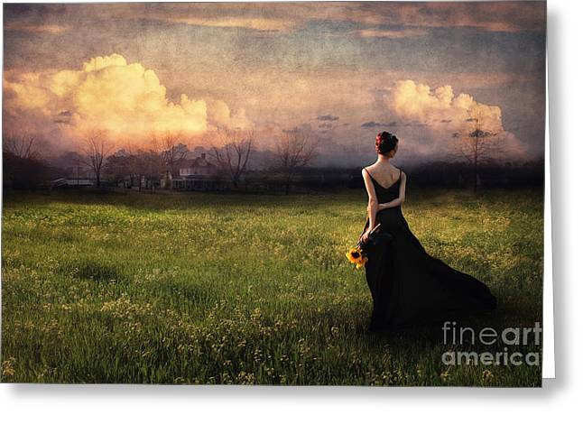 Long Dress Mixed Media Greeting Cards - Going Home Greeting Card by Spokenin RED