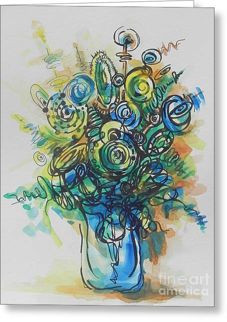 Green And Yellow Abstract Greeting Cards - Going in Circles  Greeting Card by Chrisann Ellis