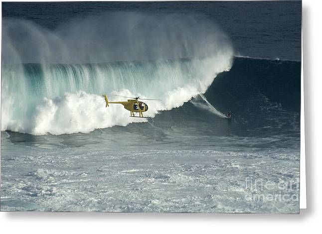Surfing Photos Greeting Cards - Going Left At Jaws Greeting Card by Bob Christopher