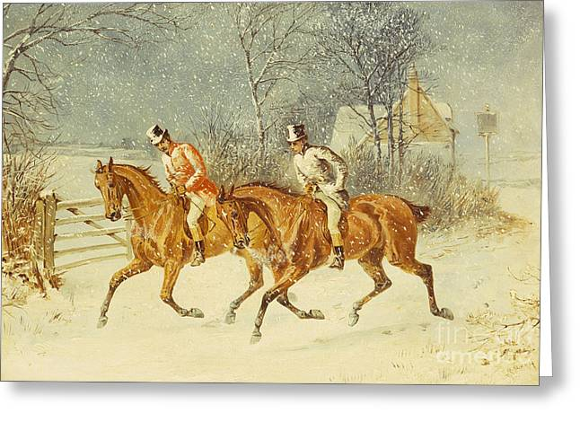 Going Out In A Snowstorm Greeting Card by Henry Thomas Alken