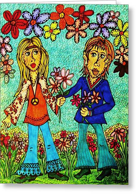 First Love Drawings Greeting Cards - Going Steady  Greeting Card by Gerri Rowan