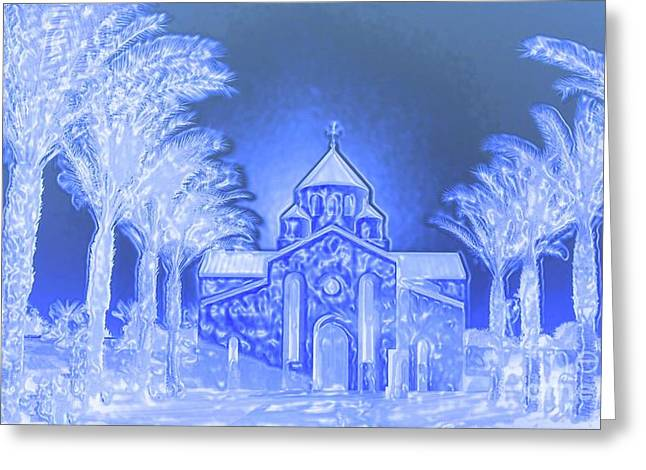 Digital Art Greeting Cards - Going To Church On Christmas Greeting Card by Sherri  Of Palm Springs
