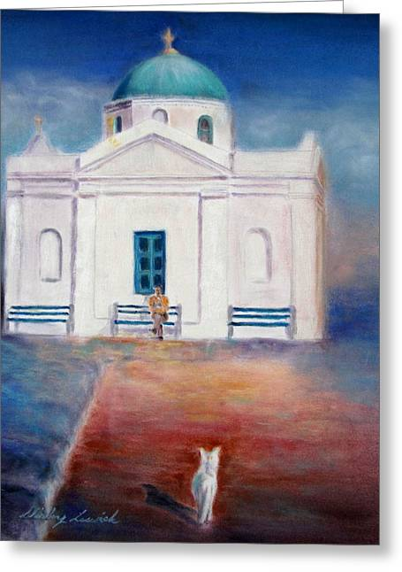 Greek Pastels Greeting Cards - Going to Church Greeting Card by Shirley Leswick