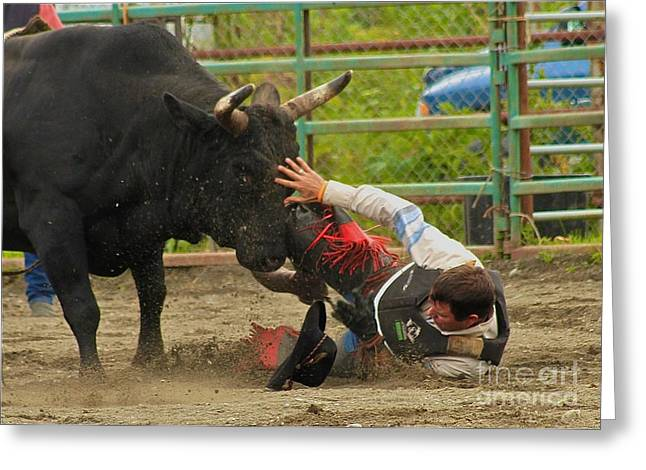 Bull Riders Greeting Cards - Going To Hurt Greeting Card by Rick  Monyahan
