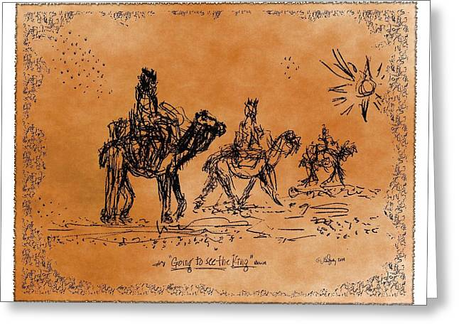Going To See The King - Sketch Greeting Card by Glenn McCarthy Art and Photography