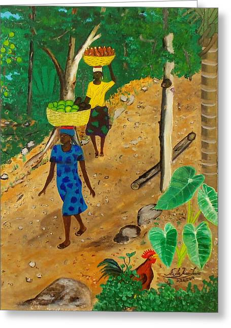 Nicole Jean-louis Greeting Cards - Going To The Marketplace 3 Greeting Card by Nicole Jean-Louis