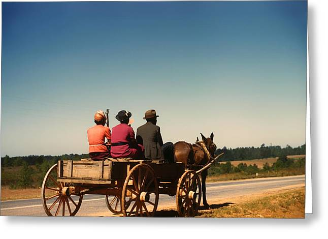 Horse And Cart Photographs Greeting Cards - Going to Town - Greene County Georgia 1941 Greeting Card by Mountain Dreams
