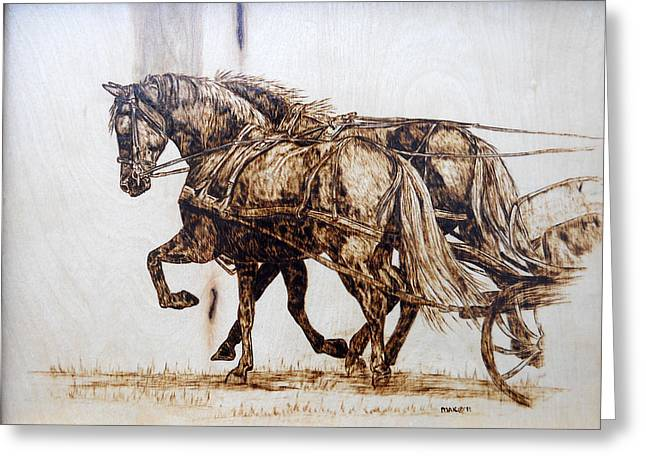 Team Pyrography Greeting Cards - Going to Town Greeting Card by Melissa Fuller