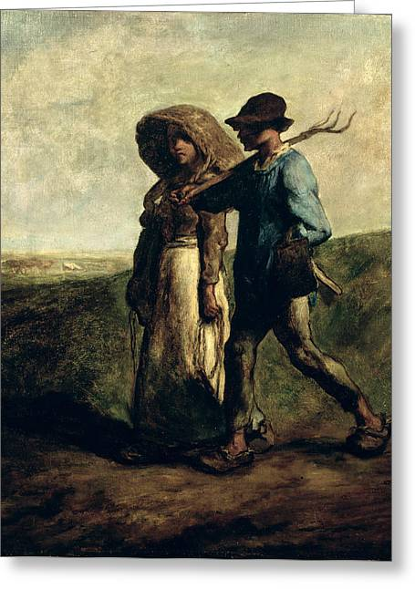 Goings Greeting Cards - Going To Work, C.1850-51 Greeting Card by Jean-Francois Millet