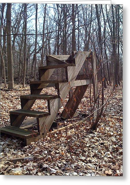 Wooden Stairs Greeting Cards - Going Up?  Greeting Card by Tammy Dutton
