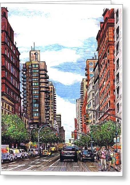 Gotham City Drawings Greeting Cards - Going Uptown Greeting Card by Robin DaSilva