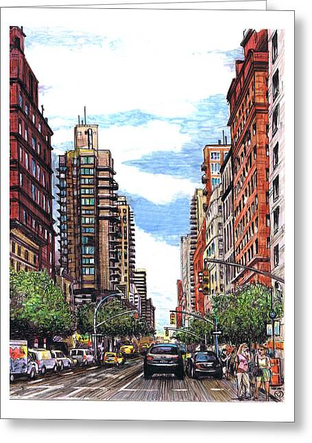 Midtown Drawings Greeting Cards - Going Uptown Greeting Card by Robin DaSilva