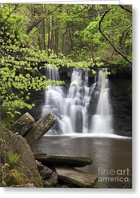 West Yorkshire Greeting Cards - Goit Stock Waterfall Greeting Card by John Potter