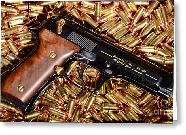 Gold Jacket Greeting Cards - Gold 9MM Beretta with Brass Ammo Greeting Card by Jt PhotoDesign