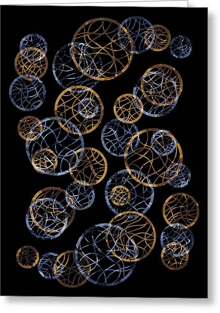 Geometrical Art Paintings Greeting Cards - Gold And Blue Abstract Circles Greeting Card by Frank Tschakert