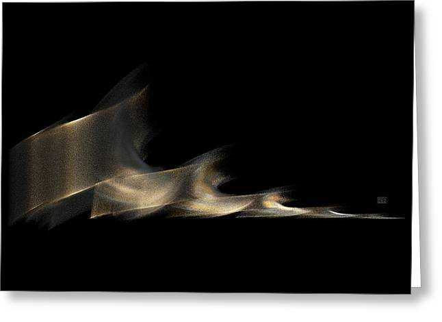 Gold And Platinum Shimmer On Black Greeting Card by Menega Sabidussi