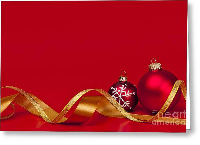 Snowflake Greeting Cards - Gold and red Christmas decorations Greeting Card by Elena Elisseeva