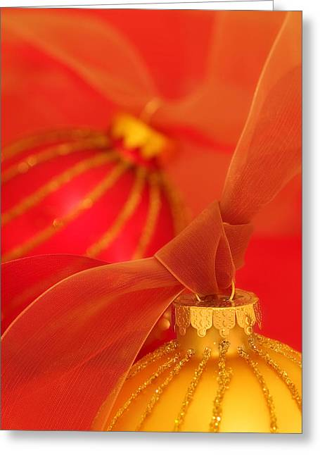 Yuletide Greeting Cards - Gold and Red Ornaments with Ribbons Greeting Card by Carol Leigh