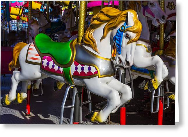 Amusements Greeting Cards - Gold and White Carrousel Hourse Greeting Card by Garry Gay