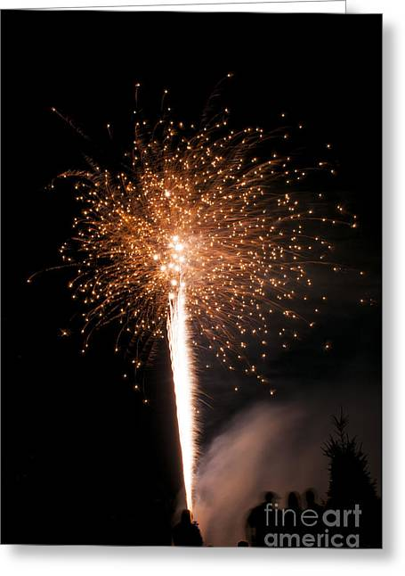 Fire Greeting Cards - Gold and White Fireworks Greeting Card by Mandy Judson