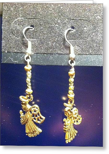 Gold Earrings Greeting Cards - Gold Angel Earrings Greeting Card by Kimberly Johnson