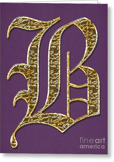 Becky Digital Art Greeting Cards - Gold B on Purple Greeting Card by Barbara Griffin