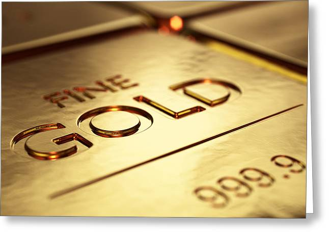 Golds Greeting Cards - Gold Bars Close-up Greeting Card by Johan Swanepoel