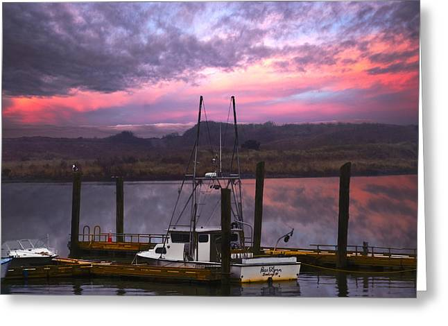 Boat Cruise Greeting Cards - Gold Beach Harbor Greeting Card by Debra and Dave Vanderlaan