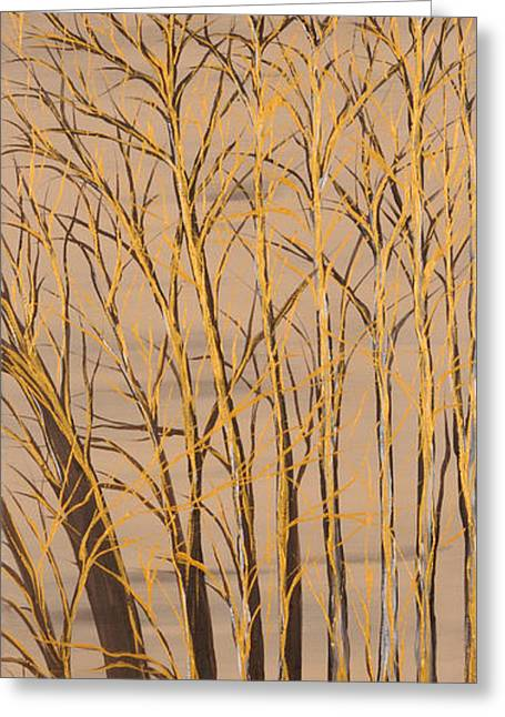 Landscape Posters Greeting Cards - Gold branches Greeting Card by Roni Ruth Palmer