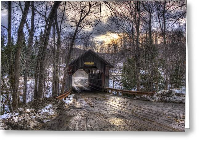 New England Snow Scene Greeting Cards - Gold Brook Covered Bridge - Stowe Vermont Greeting Card by Joann Vitali