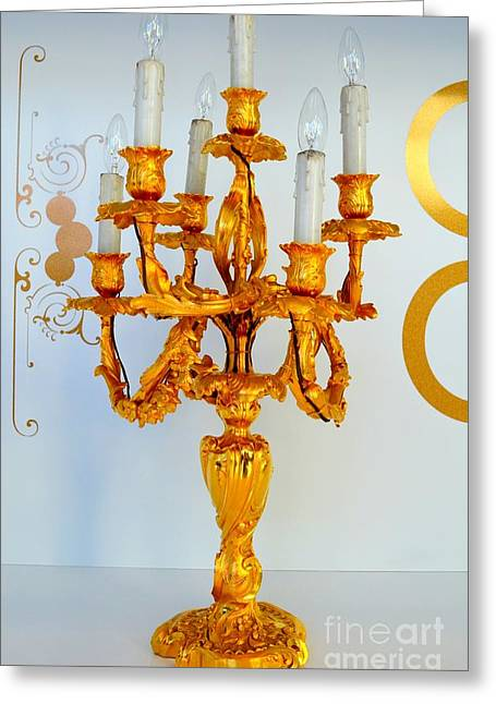 Liberace Greeting Cards - Gold Candelabra Greeting Card by Mary Deal