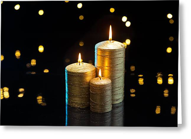 Candle Lit Greeting Cards - Gold Candles Greeting Card by Ulrich Schade