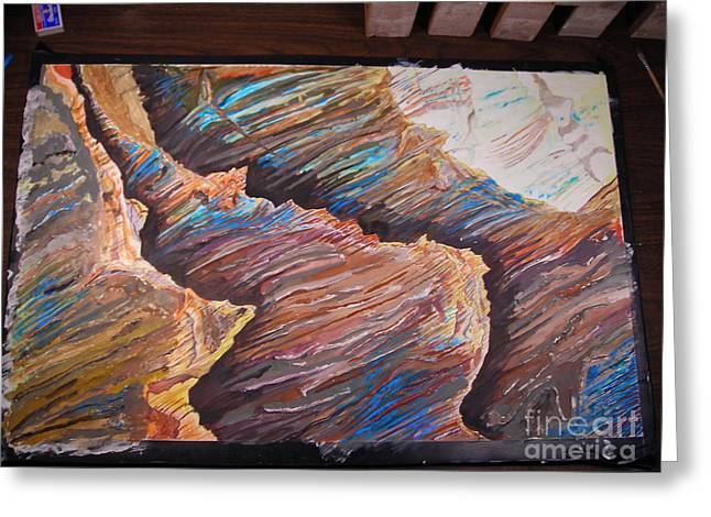 Large Scale Reliefs Greeting Cards - Gold Canyon relief Greeting Card by Mike Dendinger