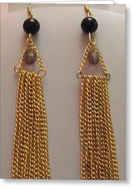 Gold Earrings Greeting Cards - Gold Chain and Black Pearl Tassel Earrings Greeting Card by Kimberly Johnson