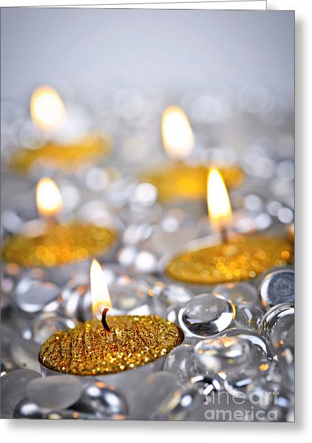 Festivities Greeting Cards - Gold Christmas candles Greeting Card by Elena Elisseeva