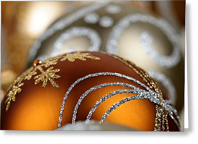 Gold Christmas ornaments Greeting Card by Elena Elisseeva
