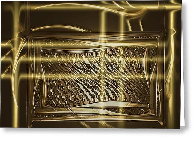 Chrome Mixed Media Greeting Cards - Gold Chrome Abstract Greeting Card by Kae Cheatham