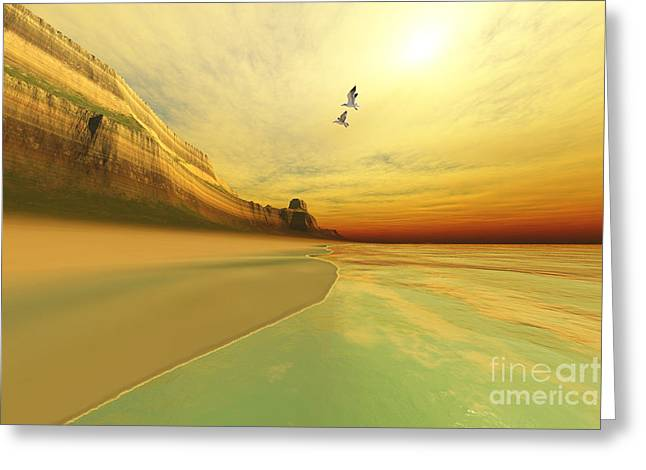 Flying Seagull Greeting Cards - Gold Coast Greeting Card by Corey Ford