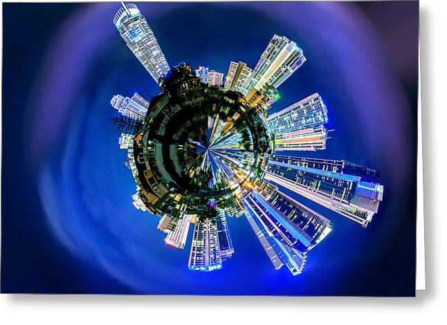 Spheres Greeting Cards - Gold Coast Skyline 6 Circagraph Greeting Card by Az Jackson