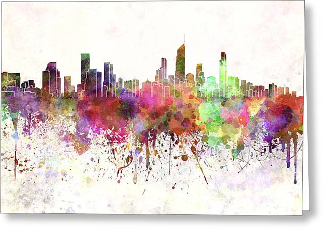 Gold Coast Greeting Cards - Gold Coast skyline in watercolor background Greeting Card by Pablo Romero
