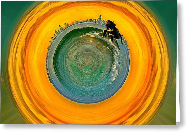 Surfing Photos Greeting Cards - Gold Coast Surfer Circagraph Greeting Card by Az Jackson