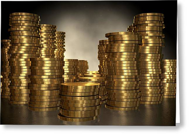 Coins Greeting Cards - Gold Coin Stacks Greeting Card by Allan Swart