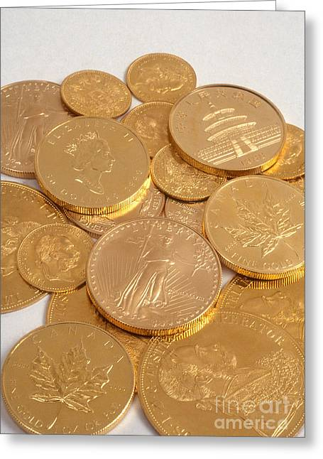 Valuable Objects Greeting Cards - Gold Coins Greeting Card by Catherine Ursillo